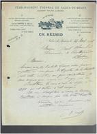FACTURE 1918 ETABLISSEMENT THERMAL DE SALIES DE BEARN ET D ORAAS SEL COMESTIBLE CENDRES POUR LESSIVE SALINES - France