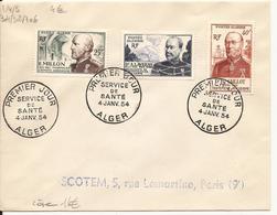 ALGERIE ENVELOPPE PREMIER JOUR SERVICE DE SANTE ALGER 1954 - Lettres & Documents