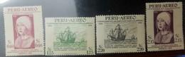 O) 1951 PERU, QUEEN ISABELLA I OF SPAIN-SCT C123 40c -SCT C125 2.15s- FLEET OF COLUMBUS SCT C124 1.25s -SCT C126 2.20s, - Peru