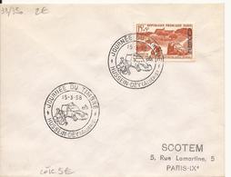 ALGERIE ENVELOPPE JOURNEE DU TIMBRE DISTRIBUTION POSTALE MOTORISEE HUSSEIN-DEY 1958 - Lettres & Documents