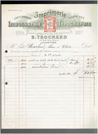 FACTURE 1912 IMPRIMERIE LITHOGRAPHIE TROCHARD 15 RUE NOEL BALLAY A CHARTRES EURE ET LOIR - Imprimerie & Papeterie