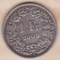 SUISSE. 1 Franc 1909 B, En Argent - Schweiz