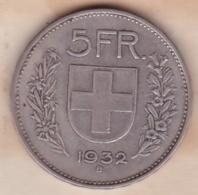 SUISSE. 5 Francs 1932 B, En Argent - Schweiz