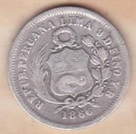 Perou. 1/5 Sol 1866 YB. Argent .KM# 191 - Pérou