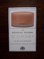 Petite Carte Parfumée Publicitaire. La Nouvelle Poudre D'Orsay - Vintage (until 1960)