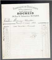 FACTURE 1892 FABRIQUE DE BOUCHONS POUR LA PHARMACIE HOCHEID 36 RUE SAINT SEBASTIEN A PARIS - France