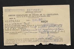 Gendarmerie Nationale Amende Forfaitaire De Police De Circulation 197 Unité De Salbris Un Cachet Peu Lisible - Cachets Généralité