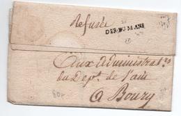 AN 7 - DEBOURSE DU MANS (LE MANS / SARTHE) Sur LETTRE De BOURG (AIN) - SIGNEE POTHION - 1701-1800: Precursors XVIII