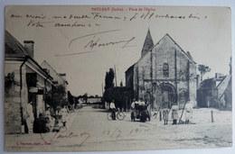 RARE CPA CARTE POSTALE 36 PAULNAY PLACE DE L'EGLISE G Tanchou - France