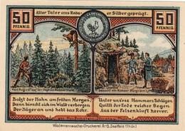 Billet Allemand - 50 Pfennig -  Roda 1921 - Alte Nagelschmiede, Karl August Auf Der Jagd, Goethe Am Bergwerk - [11] Emissioni Locali