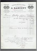 FACTURE 1892 EPONGES BRUTES ET LAVEES BARIGNY 48 RUE SAINTE CROIX DE LA BRETONNERIE A PARIS - Francia