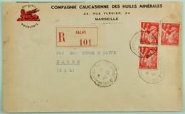 Lettre Recommandée Cie Caucasienne Des Huiles Minérales 31 Dec. 1940 Salon De Provence --> Macon, Affr. 3f  Iris YT 433 - Covers & Documents
