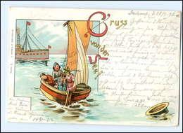 Y11721/ Gruß Von Der See  Segelboot Litho AK Verlag: Bärwolf, Greifswald  1898 - Humor