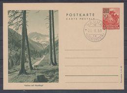 Liechtenstein 1958: Bild-PK Valüna Mit Naafkopf Aufdruck LBK 34b (Courvoisier SA 43) Mit O VADUZ 20.V.58 (LBK CHF 30.00) - Entiers Postaux