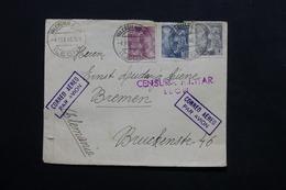 ESPAGNE - Enveloppe De Valencia Pour Bremen En 1940 Avec Contrôles Postaux , Affranchissement Tricolore - L 24771 - Marcas De Censura Nacional