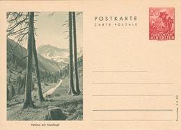 """Liechtenstein 1943: Bild-PK Valüna Mit Naafkopf 20 Rp """"Edelweiss"""" LBK 26b Druck: Courvoisier SA 43 (LBK CHF 18.00) - Entiers Postaux"""