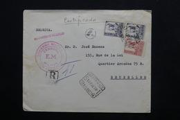 ESPAGNE - Enveloppe En Recommandé De San Sebastian Pour Bruxelles En 1938 Avec Censure Militaire - L 24773 - Republikanische Zensur