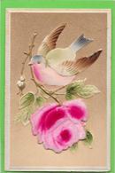 Cpa Gaufrée, Relief, Dorures  - Oiseau Sur Tige De Rose En Feutrine - Fantaisies