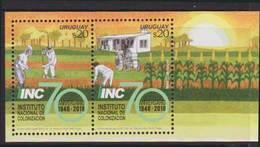 URUGUAY, 2018, MNH,COLONIZATION INSTITUTE, FARMIMG, CROPS, PLANTS, TRACTORS, SHEETLET - Agriculture
