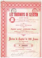 Titre Ancien - Les Tramways  De Szegedin Société Anonyme - Titre De 1907 - Chemin De Fer & Tramway