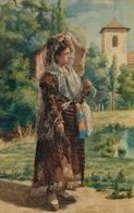 @@@ MAGNET - Miguel Jadraque Y Sanchez De Ocana, Spanish Lady With A Parasol Seated Torero - Publicitaires
