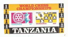TANZANIA - 1986 - BF CON 2 VALORI NUOVI STL - MONDIALI DI SCACCHI E ROTARY INTERNAZIONALE - IN OTTIME CONDIZIONI. - Scacchi
