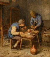 @@@ MAGNET - Netherlandish School, 17th Century, Interior Scene With Peasants Smoking - Publicitaires