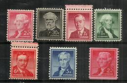 Les Presidents Americains:Jefferson,Washington,Wilson,Lee,Monroe,Theod.Roosevelt,etc. Inclus Roulette. ** - Unused Stamps