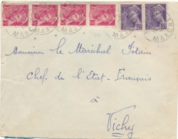 """MERCURE 406 + 413 Sur Lettre > MARECHAL PETAIN à Vichy Obl """" MORTAIN 11/11/40 MANCHE """" - Guerre De 1939-45"""