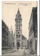 CPA   De   SAINT-QUENTIN  (02)  -   L' Eglise  St-Jean  Et  La  Rue  De  La  Folie    //   TBE - Saint Quentin