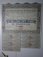 Les Assurances Syndicales Des Grands Groupements Régionaux. Action De 500 Francs 1929 - Pétrole