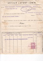 TURQUIE / IZMIR 1933 / TRES JOLIE FACTURE ARTHUR LAFFONT / FIGUES LERIDA / TIMBRE FISCAL TURQUIE 2 KURUS - Factures & Documents Commerciaux