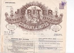 INDES / BOMBAY 1939 /  / TRES BEAU CONTRAT D ASSURANCE / TIMBRE 1 ANNA - Factures & Documents Commerciaux