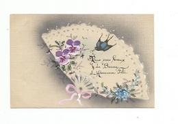 CPA FANTAISIE  EVENTAIL  Papillon Carte Peinte A La Main - Fancy Cards