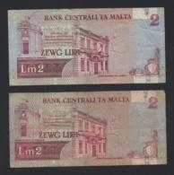Lotto 2 Banconote Malta 2 Liri 1967 Circolate - Malta