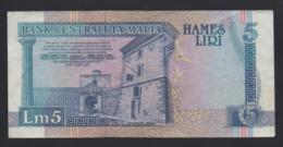 Banconote Malta 5 Liri 1967 Poco Circolata - Malta