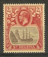 ST HELENA 1922 2s 6d SG 94 WATERMARK MULTIPLE CROWN CA LIGHTLY MOUNTED MINT Cat £28 - Saint Helena Island