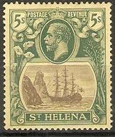 ST HELENA 1922 5s SG 95 WATERMARK MULTIPLE CROWN CA MOUNTED MINT Cat £50 - Saint Helena Island