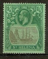 ST HELENA 1927 1s 6d SG 107 WATERMARK MULTIPLE SCRIPT CA MOUNTED MINT Cat £16 - Saint Helena Island