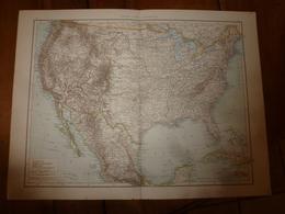 Carte Géographique De L'année 1884 ----> USA ; Mexique; Chili ; (Brésil Sud-Est); Uruguay ; - Geographical Maps