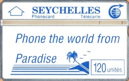 Seychelles - L&G, SEY-12, Phone The World From Paradise (Blue Palm & Slogan), 105H, 4,000ex, 5/91, Used As Scan - Seychelles