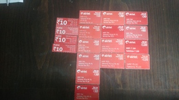 India-airtel Top Up Voucher-(82)(rs.10,20,30,60,120)(18cards)()(look Out Side)-used Card+2 Card Prepiad Free - Inde