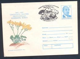 Romania 1989 Postal Stationery Cover Flora Mushroom Pilz Champignon Fungi; Alexandru Borza Botanist Flora Flowers - Pilze