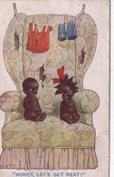 """CPA Enfants Noirs Nègre Négritude """"Viens Plus Près De Moi"""" Illustrateur Anglais (2 Scans) - Cartes Humoristiques"""