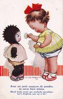 CPA Fillette Enfant Noir Nègre Négritude Maquillage Poudre Illustrateur D. TEMPEST (2 Scans) - Cartes Humoristiques
