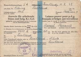 Allemagne - Laissez-passer Pour P.d.g. Français Et Belges Qui Travaillent - Marcel Renault - 2e Guerre Mondiale 1939-45 - Autres