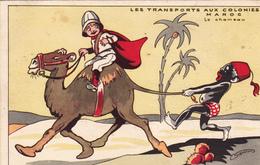 """CPA Publicitaire """"La Samaritaine"""" Transport Aux Colonies MAROC MAROCCO Noir Nègre Négritude Illustrateur (2 Scans) - Cartes Postales"""