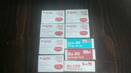 India-airtel Top Up Voucher-(83)(rs.10,20,30,50,100)(9cards)()(look Out Side)-used Card+2 Card Prepiad Free - Indien