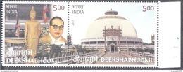 INDIA,  2017, DEEKSHABHOOMI, Dr BR Ambedkar, Buddha, Buddhismj, Religion, Set 2v Setenant, MNH(**). - India