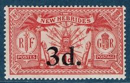 New Hebrides, Overprint 3d../1p., 1924, MNH VF - French Legend